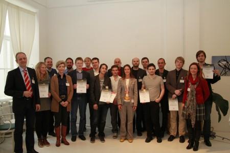 Die erfolgreichen netd@ys Nominierten und netidee Geförderten mit Dr. Rupert Nagler (IPA), Sabine Fleischmann (netidee Förderbeirat), Univ. Doz. Dr. Siegfried Reich (Salzburg Research) und Julia Eder (Salzburg Research)