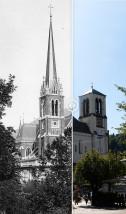 Vorher-Nachher-Vergleich der Salzburger Andrä-Kirche auf kulturerleben.salzburgresearch.at: um 1910 und heute © Stadtarchiv Salzburg/Salzburg Research