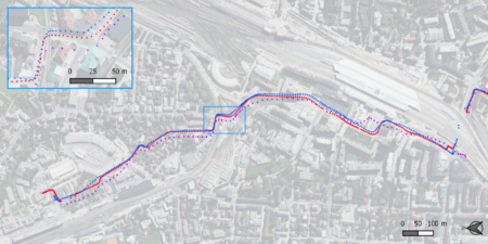 Bicycle GPS tracks in the city of Salzburg: Leica antenna track (red points) compared to smartphone GPS tracks (blue and purple) (background © basemap.at)