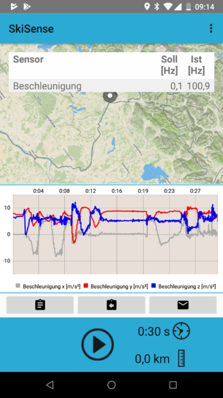 Figure 3: Screenshot of SkiSense App for data collection in the field, Salzburg Research.