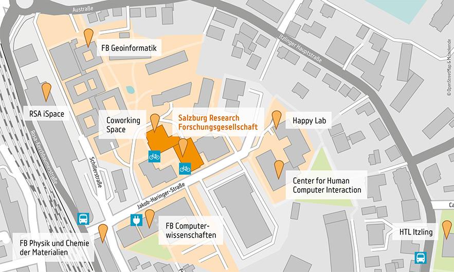 Anfahrtskarte Salzburg Research