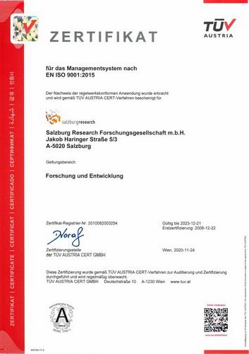 Salzburg Research Zertifikat